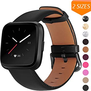 Mosstek Leather Bands Compatible with Fitbit Versa & Versa 2 & Versa Lite & Versa Special, Leather Band Strap for Versa Wo...