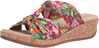 Easy Street Women's Wedge Sandal, Red Multi Fabric, 8 Wide