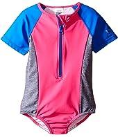Speedo Kids - Short Sleeve Zip One-Piece Swimsuit (Big Kids)