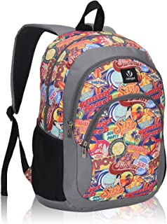 Veegul Cool Backpack Kids Sturdy Schoolbags Back to School Backpack for Boys Girls,Orange