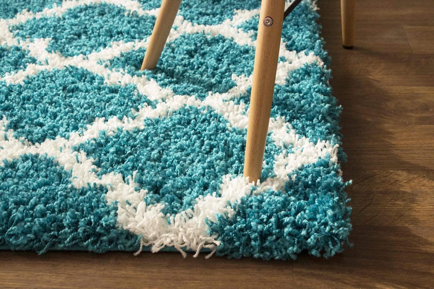 Super Area In a popularity Rugs Modern Geometric Design Shag Soft Turquoise Max 89% OFF Rug