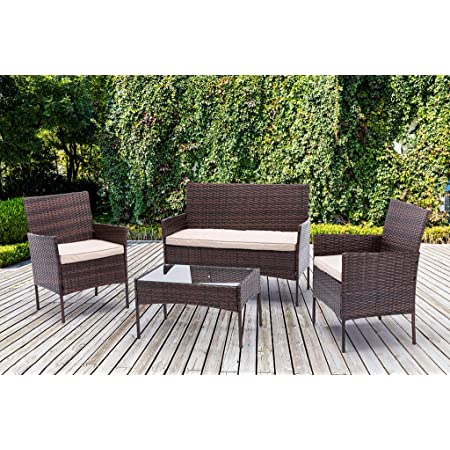 4pcs Rattan Outdoor Garden furniture sofa set with 2x Armchairs 1x Double Sofa & 1 table for indoor & outdoor (Roger) (Brown)