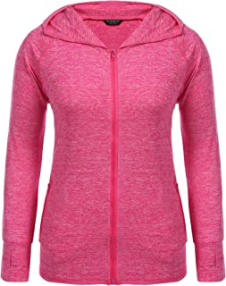 IN'VOLAND Womens Running Jackets Plus Size Lightweight Full Zip Up Track Workout Yoga Athletic Hooded Hoodie with Pockets