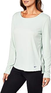 Nike Women's Dry Elastika Long-Sleeve Top, Pistachio Frost/Mystic Navy/Black