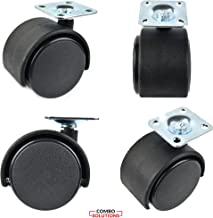1.5 Inches Black Nylon Twin Wheel Swivel Plate Caster with 20 Screws - 4 Sets