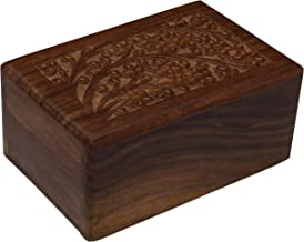 Hand-Carved Rosewood Urn Box - Extra Small