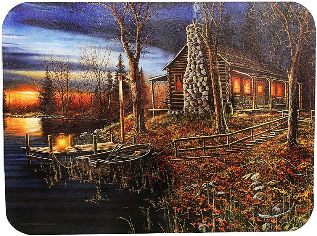River S Edge Tempered Glass Cutting Board With Beautiful Lakeside Forrest Cabin At Sunset Design Cabin 16 Inchx12 Inchx 5 Inch