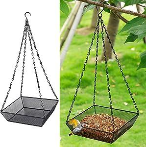 FORUP Hanging Bird Feeder Tray, Metal Mesh Seed Tray, Platform Bird Feeder Hanging Tray for Bird Feeders, Outdoor Yard Garden Outside Backyard Decoration