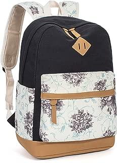 Leaper Floral School Backpack College Bookbags Shoulder Bag Satchel Black