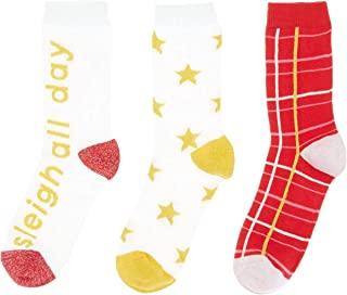 Missguide MG701 - Calcetines de tobillo de algodón estampados para mujer, 3 unidades