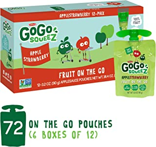GoGo squeeZ Applesauce on the Go, Apple Strawberry, 3.2 Ounce (72 Count), Gluten Free, Vegan Friendly, Healthy Snacks, Unsweetened Applesauce, Recloseable, BPA Free Pouches