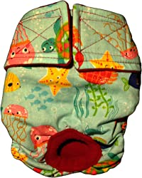 Barkerwear Dog Diapers - Made in USA - Under The Sea Washable Dog Diaper for Incontinence, Housetraining and Dogs in Heat