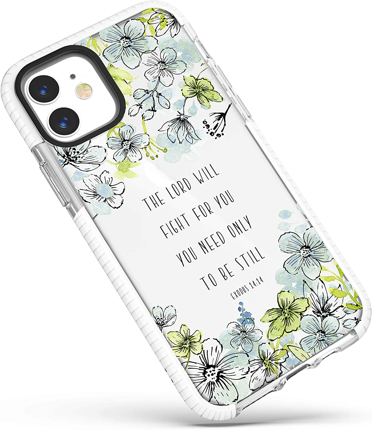 iPhone 12 Mini Case Clear,Blue Floral Flowers Inspirational Encouraging Bible Verses Christian Quotes Exodus 14:14 Soft Protective Clear Case with Design for Girls Women Compatible for iPhone 12 Mini