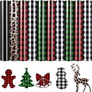 10 Sheets Christmas Heat Transfer Vinyl Buffalo Plaid Iron-on Vinyl Printed Leopard Black Heat Transfer Vinyl for T-Shirts...