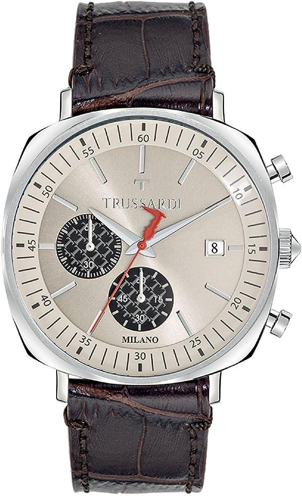 Trussardi orologio, cronografo per uomo,cassa in acciaio e cinturino in vera pelle R2471621002