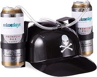 Relaxdays Gorra Cerveza Pirata para Dos Latas, color negro, 13 x 32 x 28 cm (10022790)