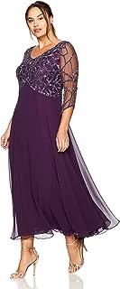Women's Plus Size 3/4 Sleeve Geo Beaded Gown