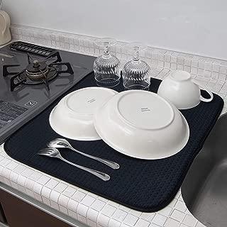 mikketa 水切りマット キッチン 食器 大判 速乾 吸水 ブラック 抗菌 防カビ 加工 全8色