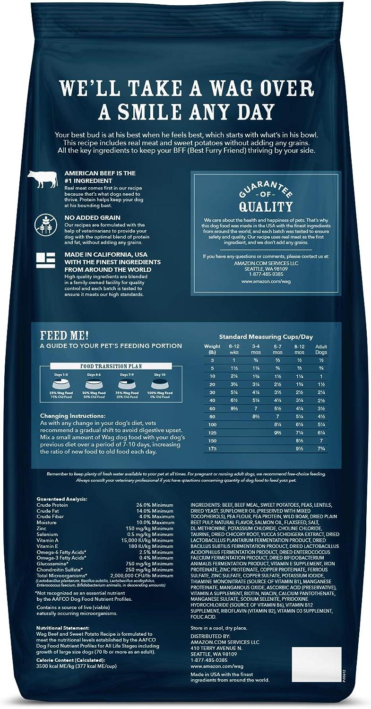 "Brand """" wag Dry Dog Food Beef & Sweet Potato, (No Added Grains) 24 lb Bag: Pet Supplies"