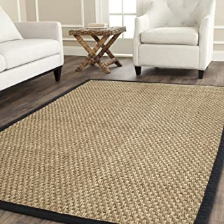 Safavieh Natural Fiber Collection NF114C Basketweave Natural and Black Summer Seagrass Area Rug (8' x 10')