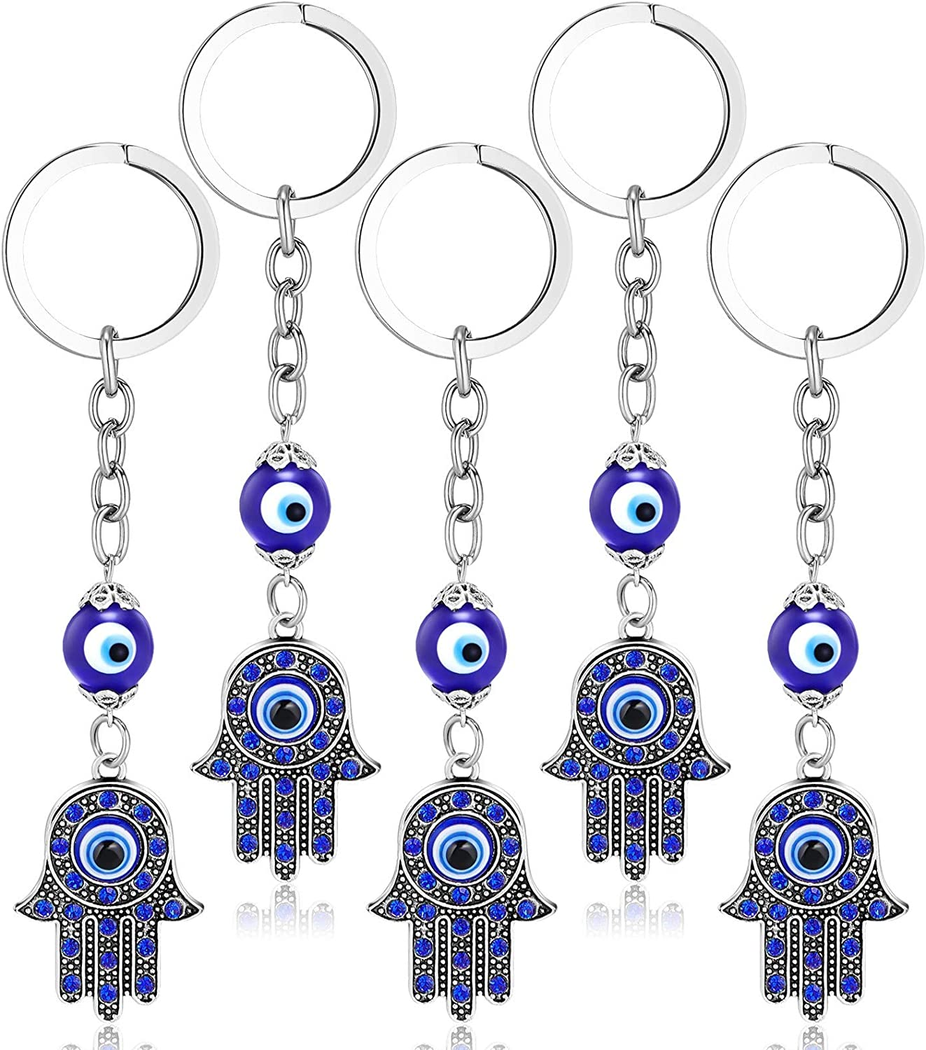 5 Pieces Hamsa Hand Keychain Evil Eye Silver Keychain Fatima Protection Charms Blue Good Luck Key Holder for Attaching to Keys and Bags