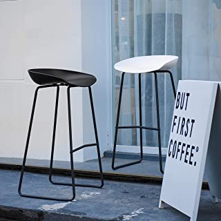 Art Leon Bar Stools Set of 2, Mid Century Modern Patio Counter Height Backless Plastic Seat Tall Bar Stools Chair with Metal Foot Rest for Outdoor/Indoor (White)