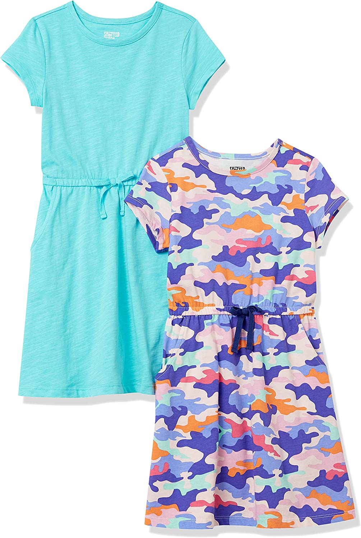 Amazon Brand - Spotted Zebra Girls' Knit Short-Sleeve Cinch-Waist Dresses