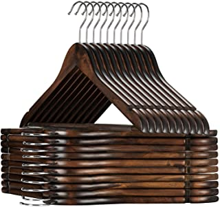 High-Grade Wooden Suit Hangers 20 Pack with Non Slip Pants Bar – Smooth Finish..