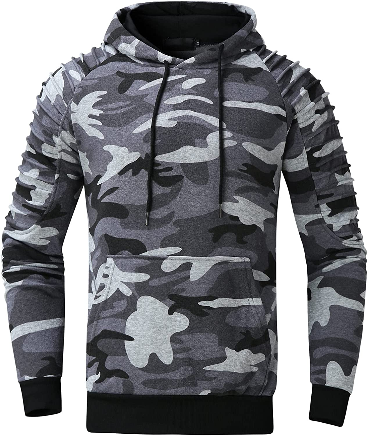 HONGJ Camo Hooded Sweatshirts for Mens, Pleated Shoulder Camouflage Drawstring Pullover Workout Sports Fitness Hoodies
