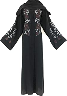 Women Abaya Black Color Nidha Material with Embroidery Belted Design with Shawl