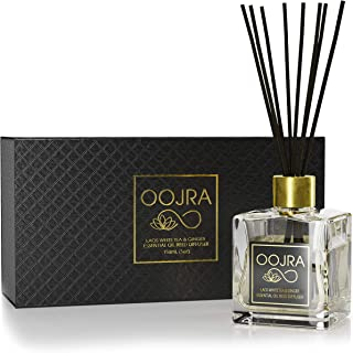 OOJRA Reed Diffuser Gift Set, Natural Essential Oil Long Lasting Fragrance 5 oz; Aromatherapy Air Freshener; Laos White Tea and Ginger (+Other Scent Options Available) w/Glass Bottle & Rattan Reeds