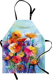 Lunarable Floral Apron, Abstract Flower Bouquet in Soft Watercolors Daisies and Gerberas Spring Seasonal, Unisex Kitchen Bib with Adjustable Neck for Cooking Gardening, Adult Size, Multicolor