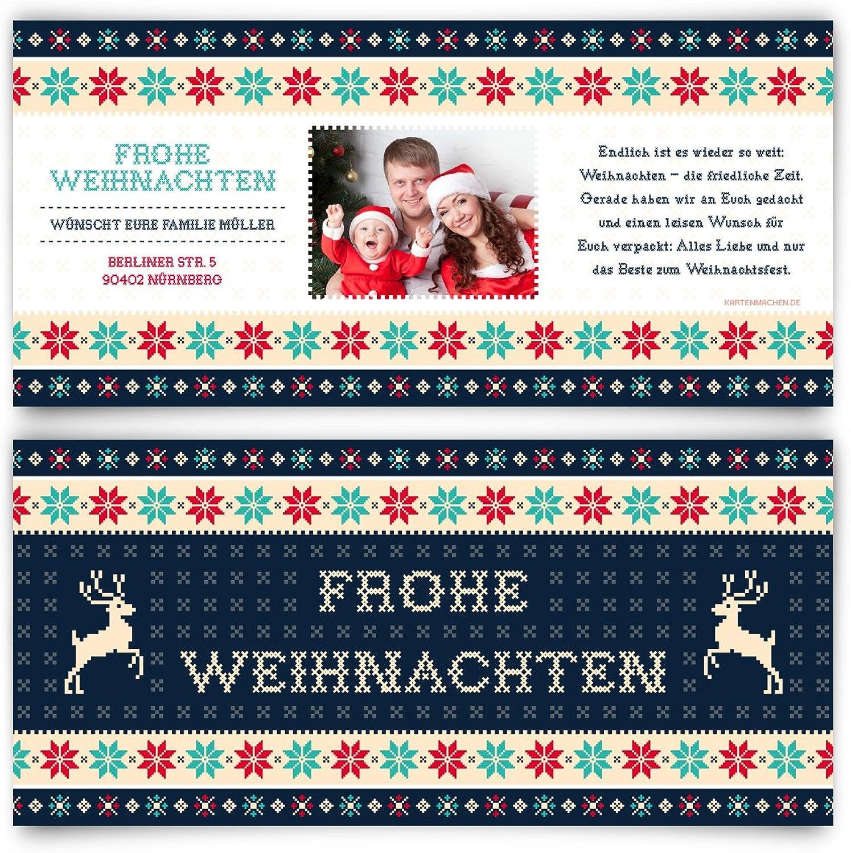 Weihnachtskarten (50 Stück) - Weihnachtspullover in Blau - Grußkarten Weihnachtsgrußkarten B01LXDWDL8   Verschiedene Arten und Stile