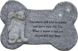 """G-MART Garden Dog Memorial Painted Polystone Stepping Stone and Wall Plaque - 12""""W x 1.25""""D x 7.5""""H"""