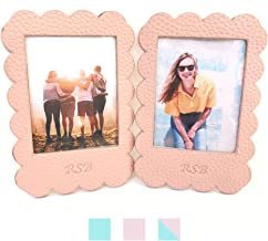 RSB Store Instax Mini and Polaroid Picture Frame | Vegan Leather | Designed to Be Sticky Photo Frame and Magnetic Photo Frame | Set of 2 Frames (Pastel Pink)