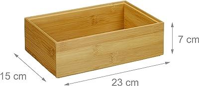 Relaxdays, 7 x 23 x 15 cm, Marrón Caja de almacenaje de bambú, Apilable, Diseño Natural