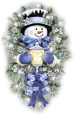 The Bradford Exchange Thomas Kinkade A Warm Winter Welcome Holiday Snowman Wreath Lights Up: 2' Tall