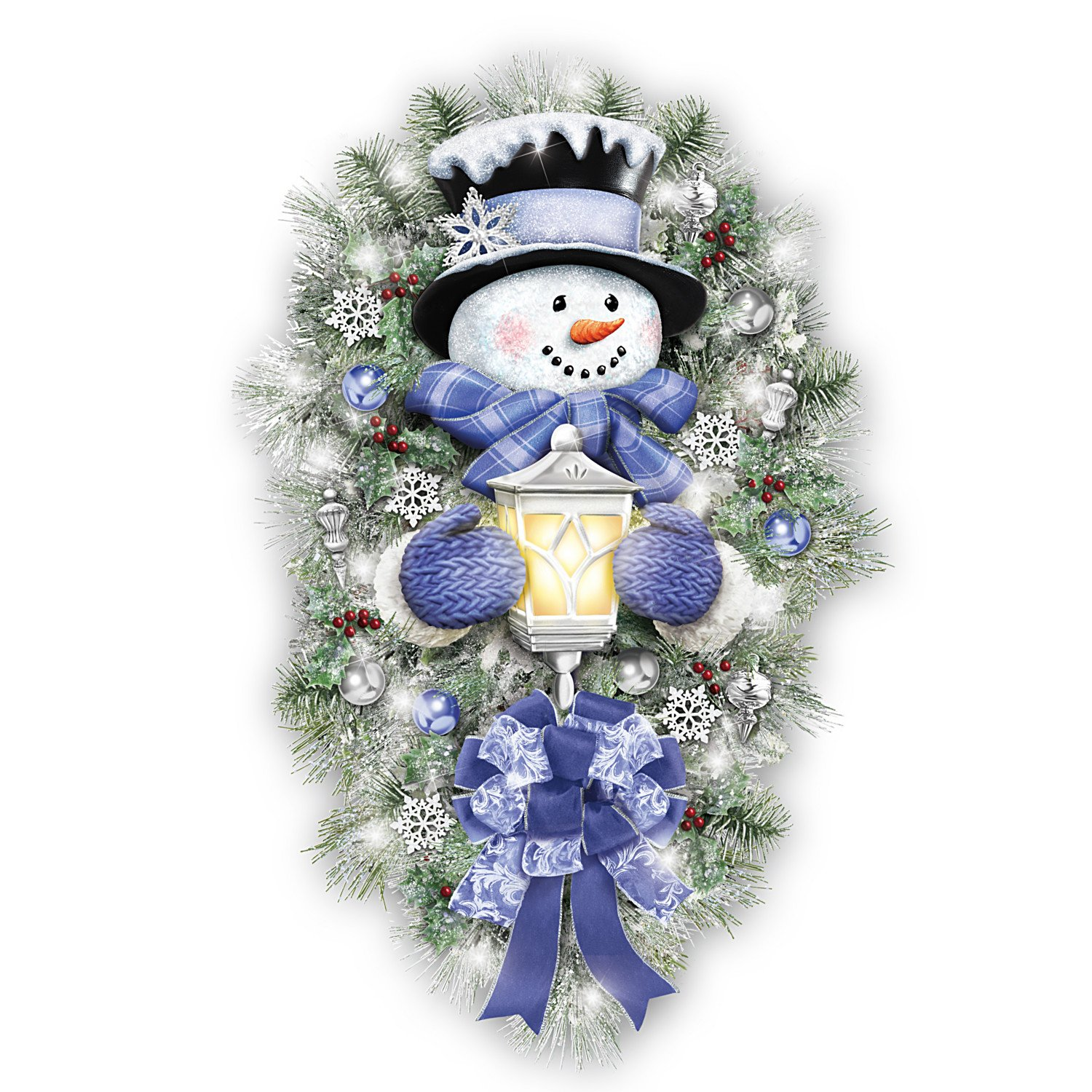 Image of Festive Lighted Thomas Kinkade Snowman Wreath with Illuminated Lantern