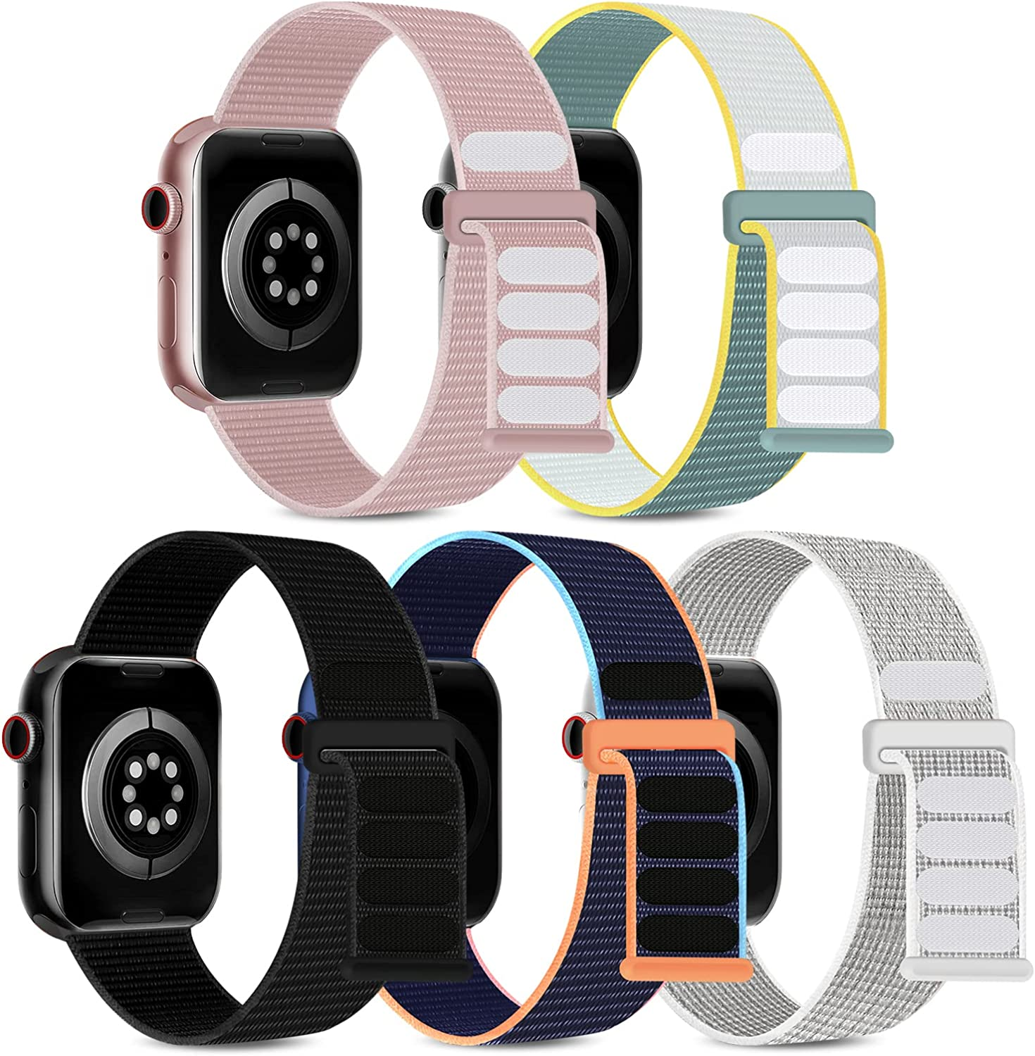 5 Pack Sport Loop Bands Compatible with Apple Watch Band 38mm 40mm 41mm 42mm 44mm 45mm Women Men, Soft Nylon Braided Elastic Strap Replacement Wristband for iWatch Series 7/6/5/4/3/2/1/SE