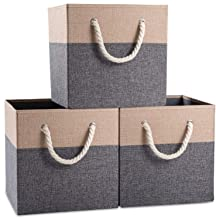 Prandom Large Foldable Cube Storage Bins 13x13 inch [3-Pack] Fabric Linen Storage Baskets Cubes Drawer with Cotton Handles...