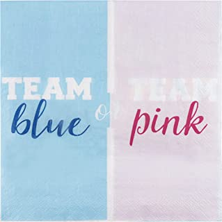 Cocktail Napkins - 150-Pack Luncheon Napkins, Disposable Paper Napkins, Gender Reveal, Baby Shower Party Supplies, 2-Ply, Team Blue or Pink Design, Unfolded 13 x 13 Inches, Folded 6.5 x 6.5 Inches