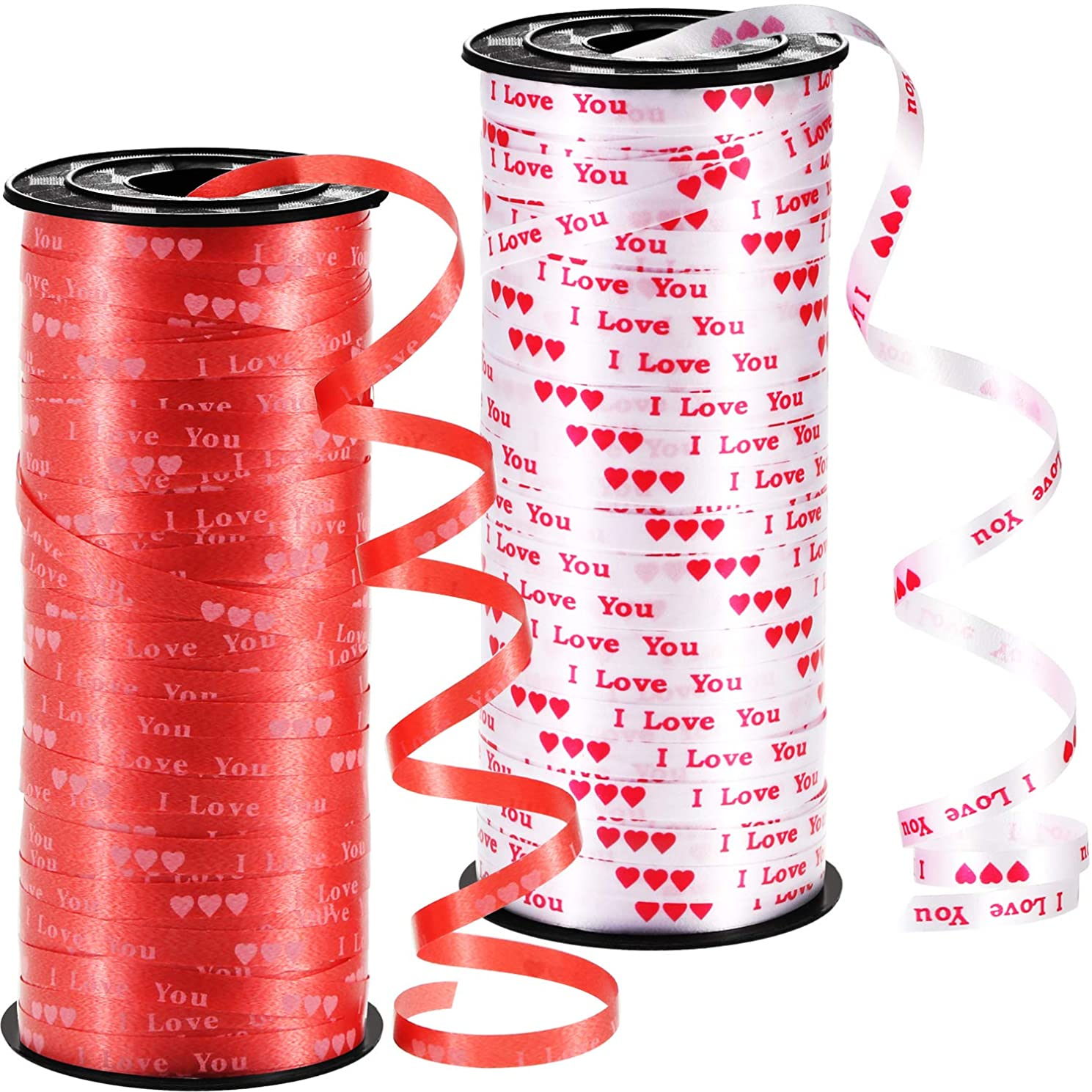 Chengu 2 Pieces Valentine Curling Ribbon Heart Printed Ribbon Love Balloon Curling Ribbon for Gift Wrapping Party Supplies (Red, White)