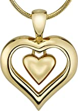 """The Eternity Heart 18kt Gold Finish Cremation Jewelry Urn Pendant Memorial Keepsake Necklace for Ashes with 20"""" Snake Chain"""