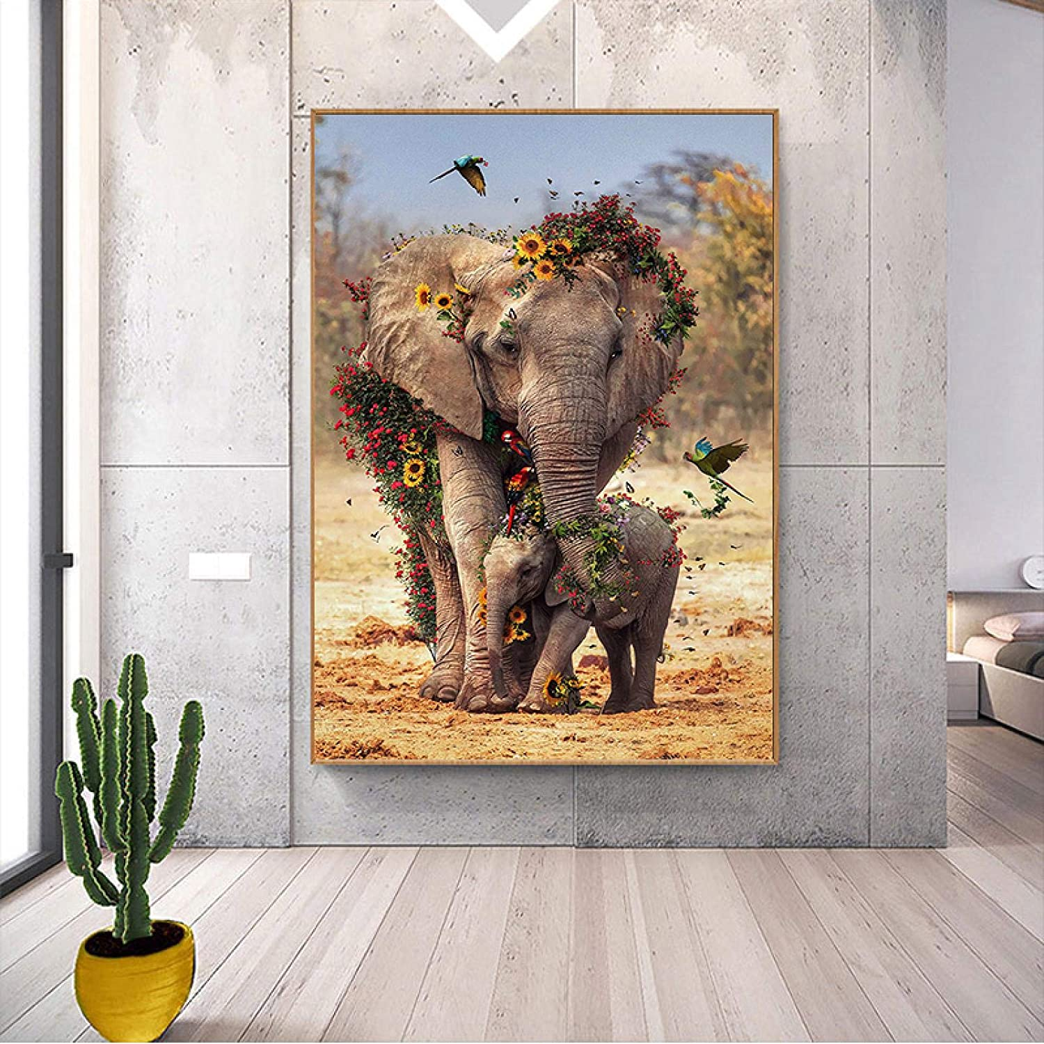 konkneleuh Elephant Price reduction Canvas Wall Art Pictures Animals for Our shop most popular African