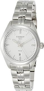 ساعة بمينا بيضاء وسوار من الستانلس ستيل للنساء من تيسوت - T101.210.11.036.00، عرض انالوج، حركة كوارتز
