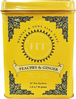 Harney & Sons Peaches and Ginger Tea Tin Can - Caffeinated and, Great Present Idea - 20 Sachets, 1.4 Ounces