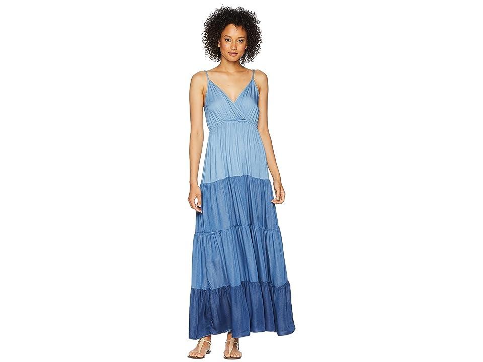 Karen Kane Tiered Chambray Maxi Dress (Multicolor) Women