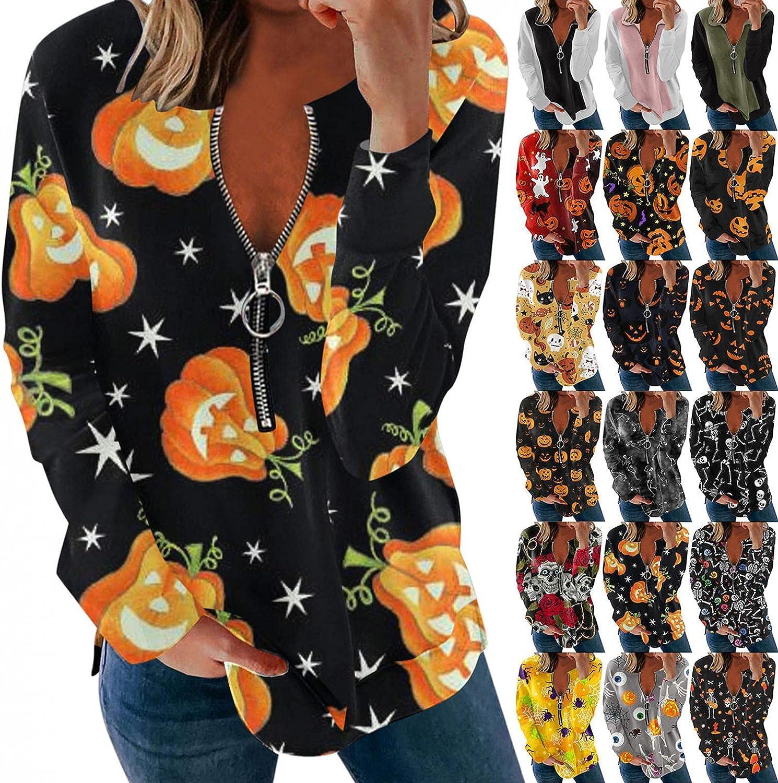 AIHOU Halloween Shirts for Women Pumpkin and Skull Print Vintage Graphic Sweatshirts Zip up Sweatshirt Long Sleeve Pullover