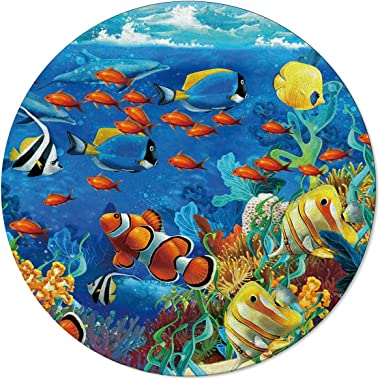 Ocean Theme Area Rug Round Rugs 3ft, Underwater World Fish Sea Collection Area Runner Circle Rug (Non-Slip) Carpets Kids Livi