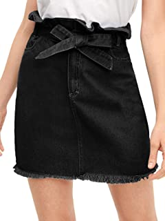 WDIRARA Women's Casual High Waist A-Line Raw Hem Denim Short Skirt